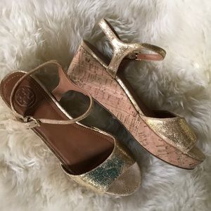 Tory Burch crackled gold Platforms
